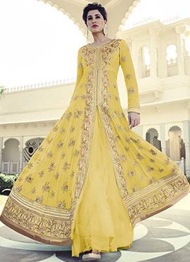 Nargis Fakhri Yellow Floor Length Anarkali Suit