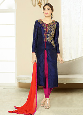 Navy Blue Art Silk Embroidered Center Slit Straight Suit