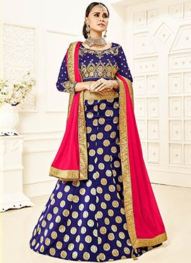 Navy Blue Art Silk Foil Printed A Line Lehenga Choli