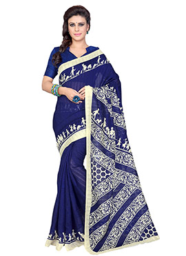 Navy Blue Art Silk Printed Saree