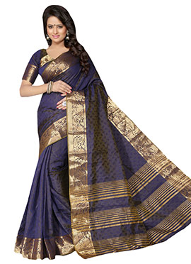 Navy Blue Benarasi Silk Saree