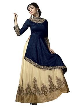 Navy Blue Bhagalpuri Silk Long Choli Lehenga