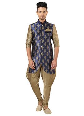 Navy Blue Brocade Indowestern Kurta Pyjama