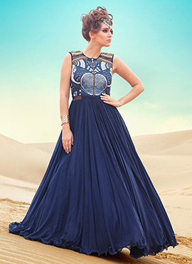 Navy Blue Chiffon Floor Length Anarkali Suit