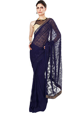 Navy Blue Chiffon Ks Couture Saree