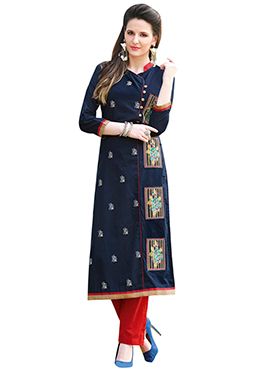 Navy Blue Cotton Embroidered Long Kurti