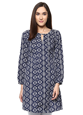 Navy Blue Crepe Printed Tunic