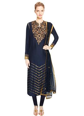 Navy Blue Embellished Churidar Suit