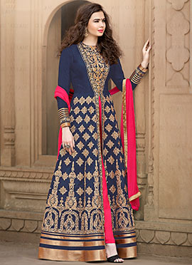 Navy Blue Embroidered Anarkali Suit