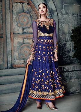Navy Blue Embroidered Anarklai Suit