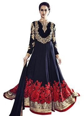 Navy Blue Floor Length Anarkali Suit