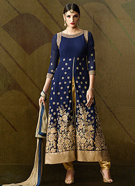 Navy Blue Georgette Dhoti Pant Suit
