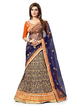 Navy Blue Georgette Lehenga Choli