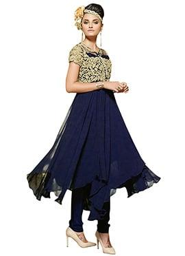 Navy Blue Georgette N Net Anarkali Suit