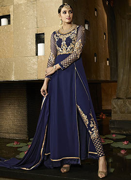 Navy Blue Indowestern Straight Pant Suit