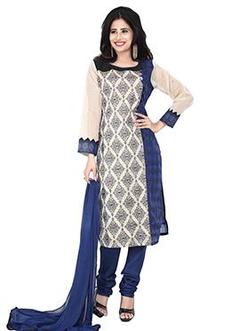 Navy Blue N Beige Printed Churidar Suit