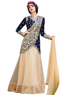 Navy Blue N Cream Long Choli Lehenga