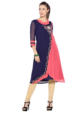 Navy Blue N Deep Coral Peach Georgette Kurti