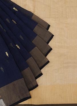 Navy Blue N Golden Color Saree