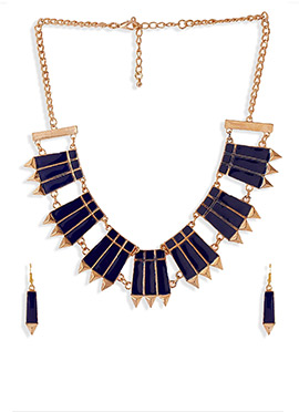 Navy Blue N Golden Necklace Set