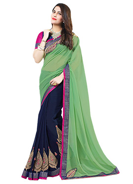 Navy Blue N Green Georgette Half N Half Saree