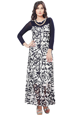 Navy Blue N Off White Georgette Long Kurti