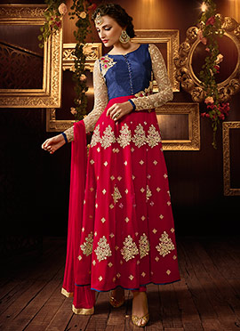 Navy Blue N Red Ankle Length Anarkali Suit