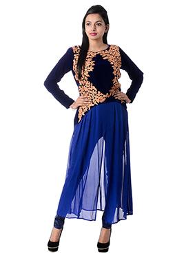 Navy Blue N Royal Blue Georgette Kurti