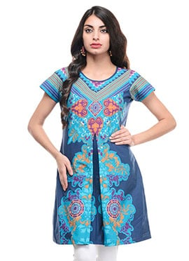 Navy Blue N Sky Blue Cotton Short Kurti