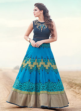 Navy Blue N Sky Blue Silk Floor Length Anarkali