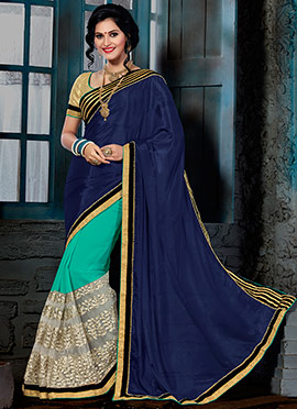 Navy Blue N Turquoise Green Half N Half Saree