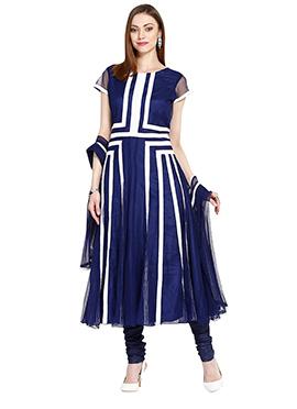 Navy Blue N White Anarkali Suit