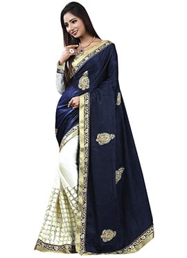 Navy Blue N White Half N Half Saree
