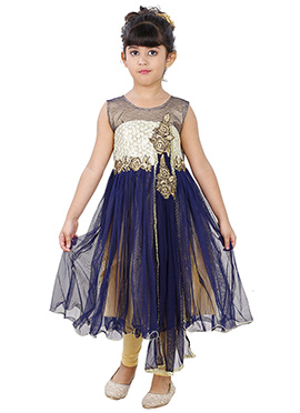 Navy Blue Net N Cotton Kids Anarkali Suit