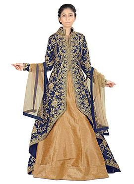 Navy Blue Raw Silk Long Choli Lehenga