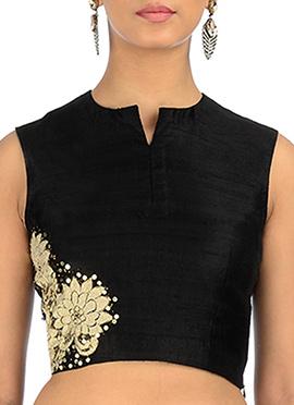 Neelam Arora Black Floral Applique Blouse