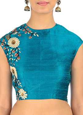 Neelam Arora Teal Blue Sequin Embroidery Blouse