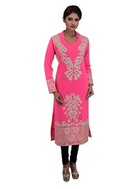 Neon Pink Orchids Sutraa Long Kurti
