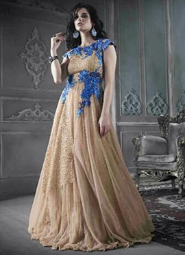 Net Beige Flared Gown