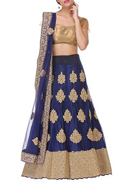Net Blue Embroidered A Line Lehenga Choli