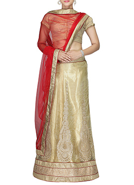 Net Cream A Line Lehenga Choli