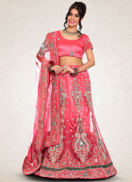 Net Deep Peach A Line Lehenga Choli