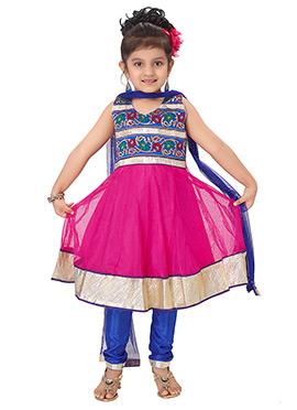 Net Fuchsia Pink Anarkali Suit