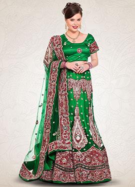 Net Green Embroidered A Line Lehenga Choli