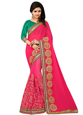 Net N Georgette Embroidered Half N Half Saree