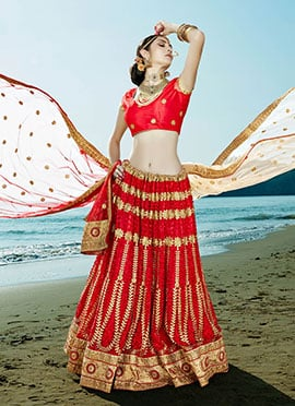 Net Red Embroidered A Line Lehenga Choli
