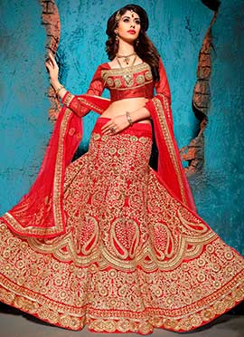 Net Red Embroidered Lehenga Choli