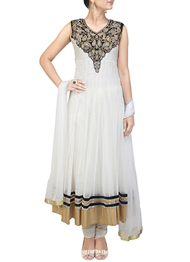 Net Off-White Anarkali Suit