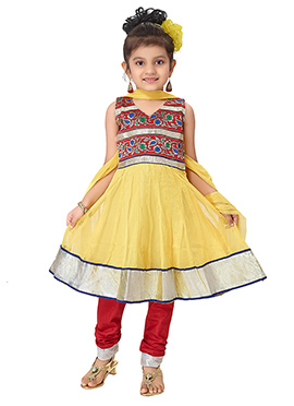 Net Yellow Anarkali Suit