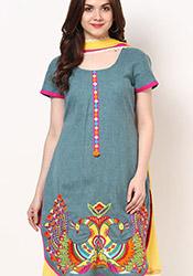 Nice Hand Woven Khadi Plus Size Churidar